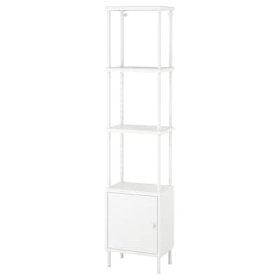 DYNAN Shelving unit with cabinet, white, 40x27x174 cm