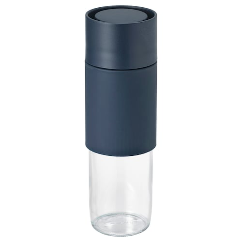 EFTERSTRÄVA travel mug clear glass/silicone 0.5 l