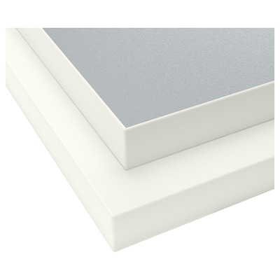 EKBACKEN Worktop, double-sided, with white edge light grey/white/laminate, 186x2.8 cm