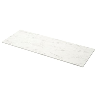 EKBACKEN Worktop, white marble effect/laminate, 186x2.8 cm