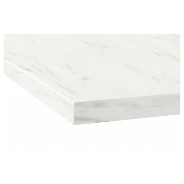 EKBACKEN worktop white marble effect/laminate 186 cm 63.5 cm 2.8 cm