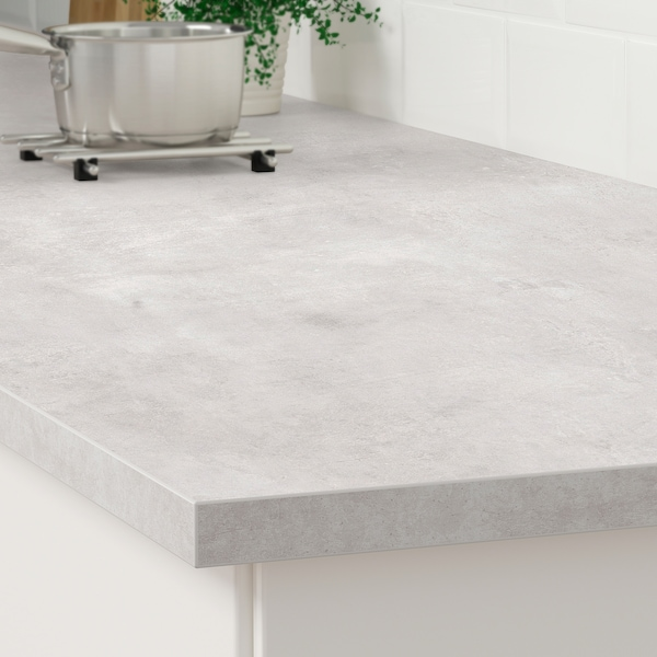 EKBACKEN worktop light grey concrete effect/laminate 186 cm 63.5 cm 2.8 cm