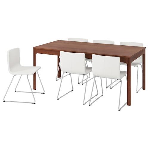 EKEDALEN / BERNHARD table and 6 chairs brown/Mjuk white 180 cm 240 cm