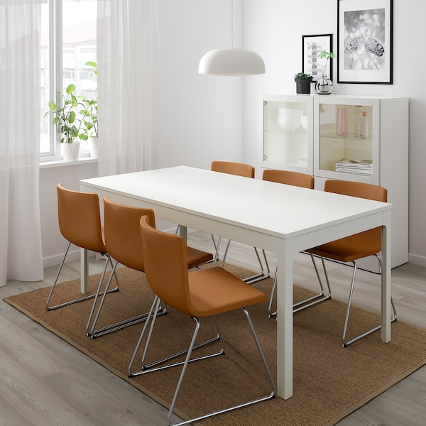 EKEDALEN / BERNHARD table and 6 chairs white/Mjuk golden-brown 180 cm 240 cm
