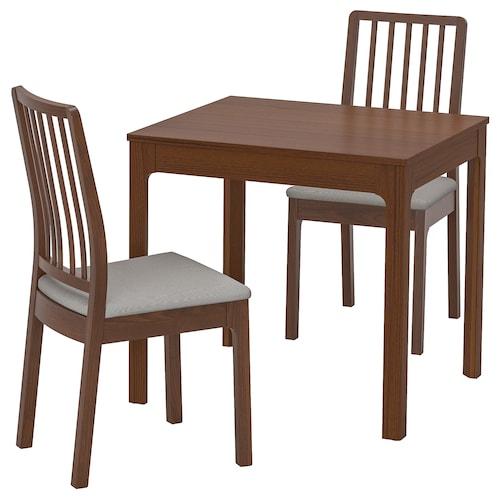 EKEDALEN / EKEDALEN table and 2 chairs brown/Orrsta light grey 80 cm 120 cm