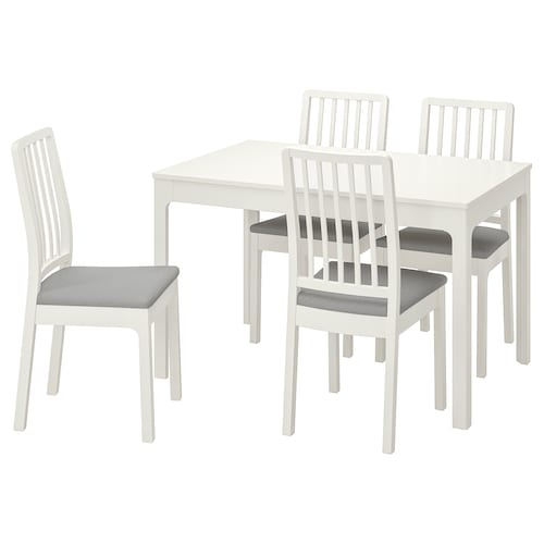 EKEDALEN / EKEDALEN Table and 4 chairs, white/Orrsta light grey, 120/180 cm