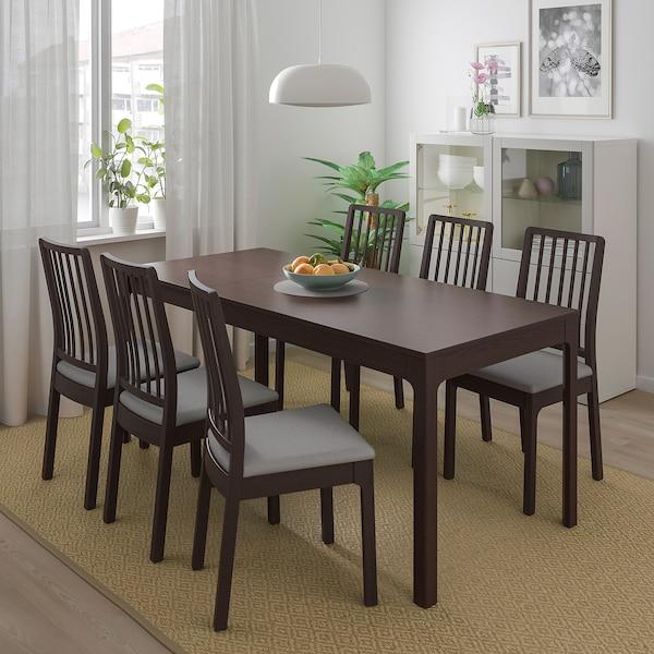 EKEDALEN / EKEDALEN table and 4 chairs dark brown/Orrsta light grey 120 cm 180 cm