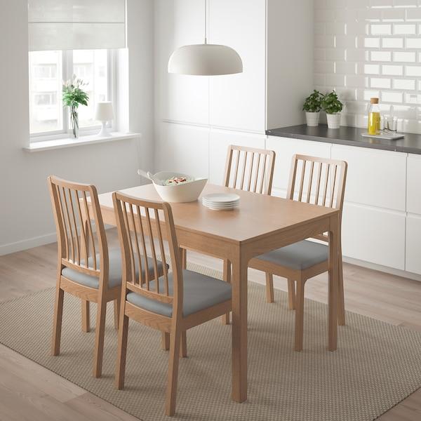 EKEDALEN / EKEDALEN table and 4 chairs oak/Orrsta light grey 120 cm 180 cm