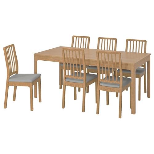 EKEDALEN / EKEDALEN table and 6 chairs oak/Orrsta light grey 180 cm 240 cm