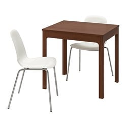 EKEDALEN /  LEIFARNE table and 2 chairs, brown, white