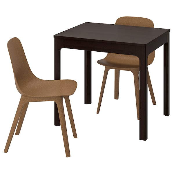 EKEDALEN / ODGER table and 2 chairs dark brown/brown 80 cm 120 cm