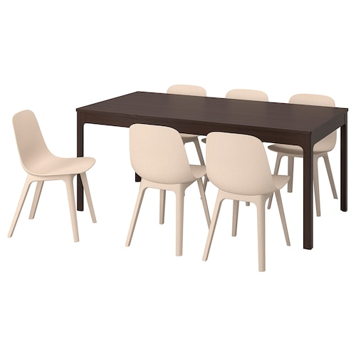 EKEDALEN / ODGER table and 6 chairs dark brown/white beige 180 cm 240 cm