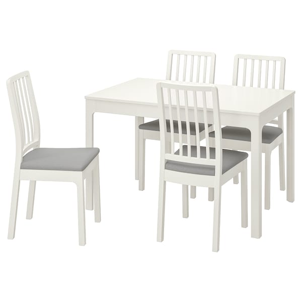 EKEDALEN Table and 4 chairs, white/Orrsta light grey, 120/180 cm