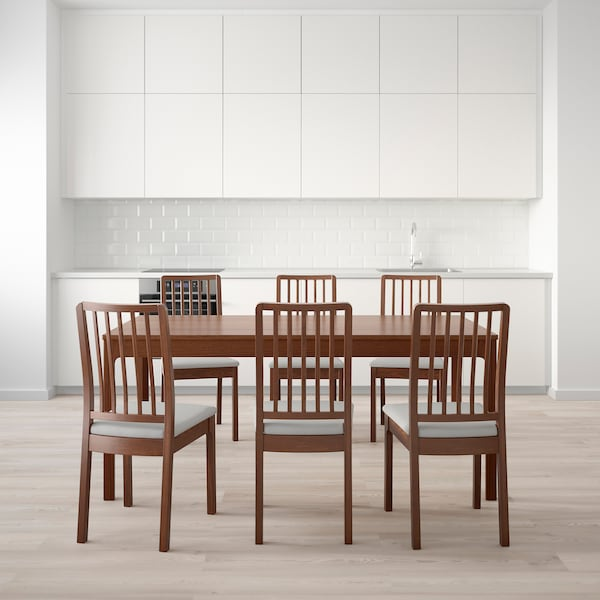 EKEDALEN Table and 6 chairs, brown/Orrsta light grey, 180/240 cm