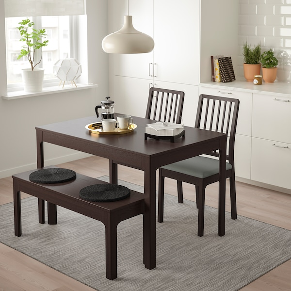 EKEDALEN Table with 2 chairs and bench, dark brown/Orrsta light grey, 120/180 cm