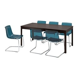 EKEDALEN /  TOBIAS table and 6 chairs, dark brown, blue
