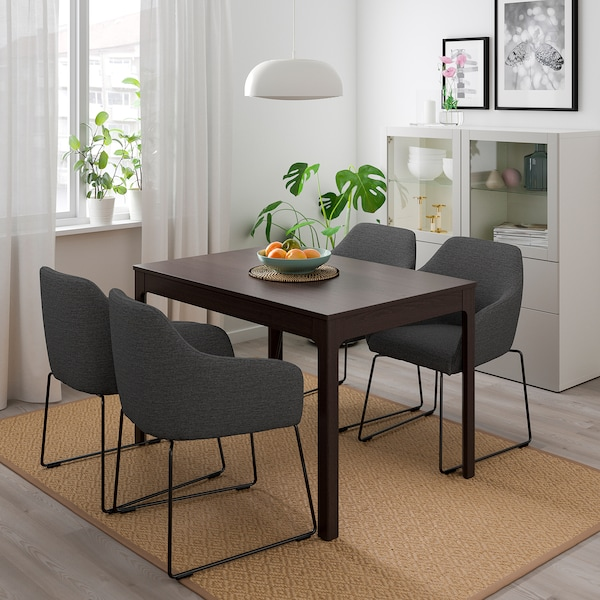 EKEDALEN / TOSSBERG table and 4 chairs dark brown metal/grey 120 cm 180 cm