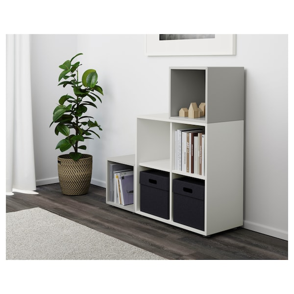EKET Cabinet combination with feet, white/light grey, 105x35x107 cm