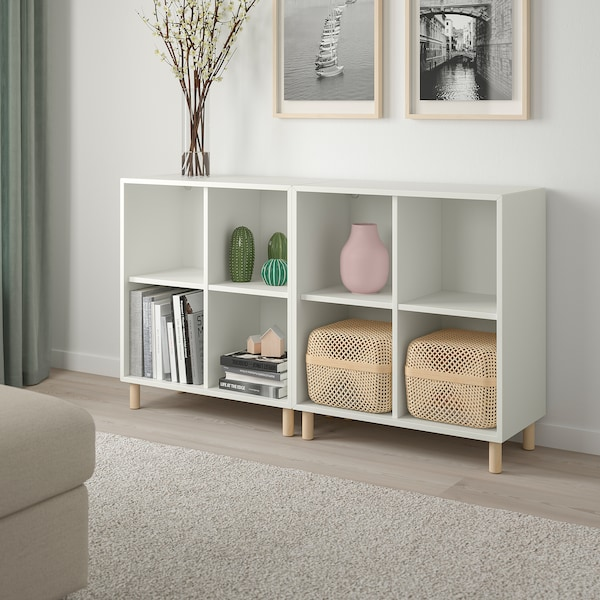 EKET Cabinet combination with legs, white/wood, 140x35x80 cm