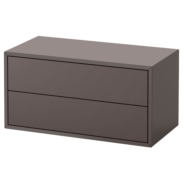 EKET Cabinet with 2 drawers, dark grey, 70x35x35 cm