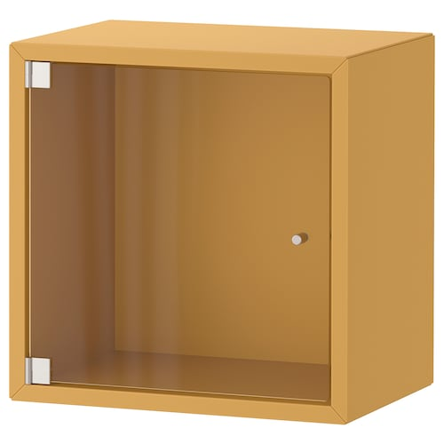 EKET Wall cabinet with glass door, golden-brown, 35x25x35 cm