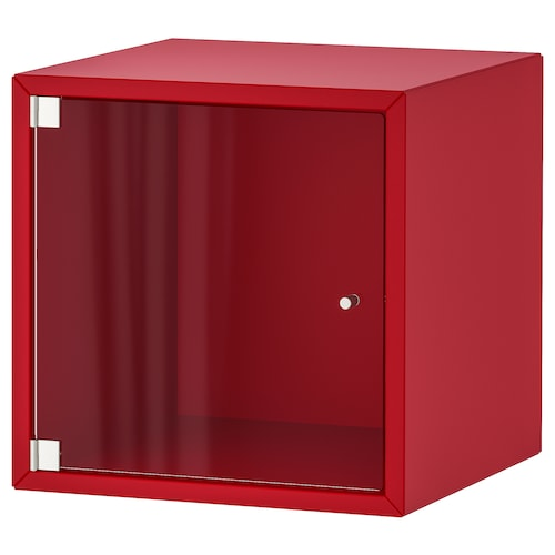 EKET Wall cabinet with glass door, red, 35x35x35 cm