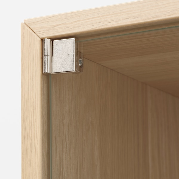 EKET Wall cabinet with glass door, white stained oak effect, 35x25x35 cm