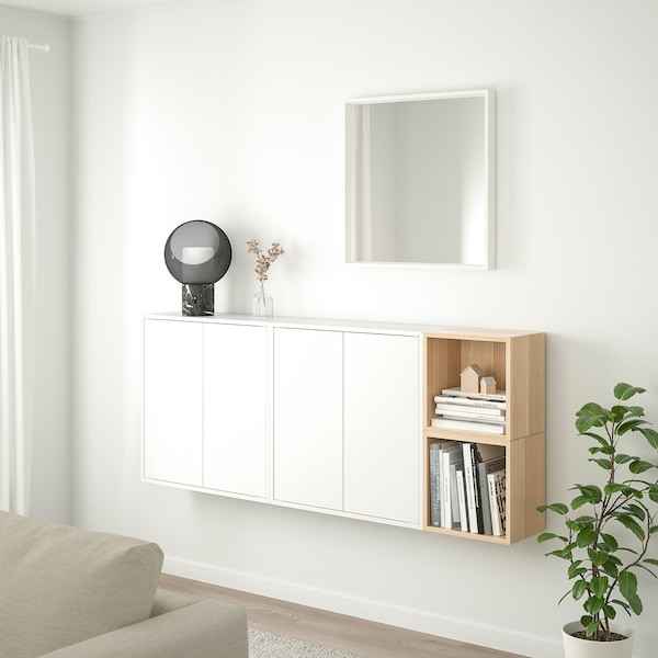EKET wall-mounted cabinet combination white/white stained oak effect 70 cm 175 cm 25 cm 70 cm