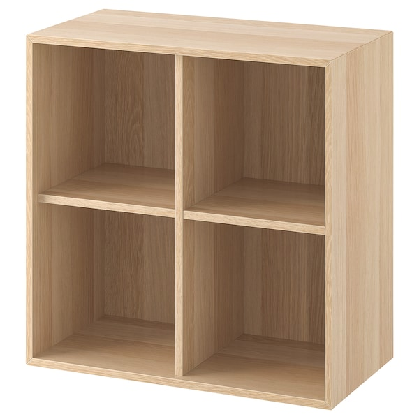 EKET Wall-mounted shelving unit w 4 comp, white stained oak effect, 70x35x70 cm