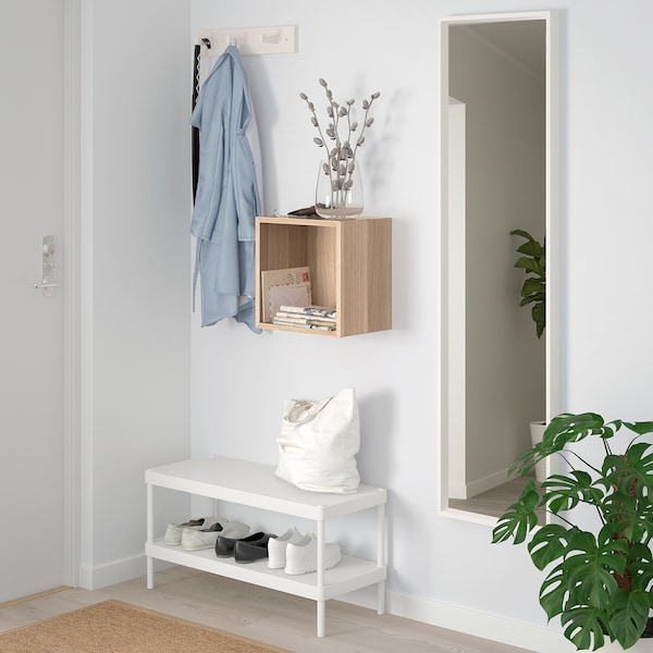 EKET wall-mounted shelving unit white stained oak effect 35 cm 25 cm 35 cm