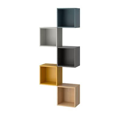 EKET Wall-mounted storage combination, multicolour 2, 70x25x175 cm