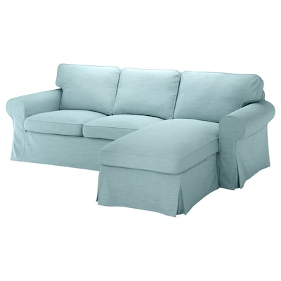 EKTORP 3-seat sofa, with chaise longue/Hillared light blue