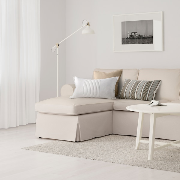 EKTORP 3-seat sofa, with chaise longue/Lofallet beige