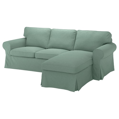 EKTORP 3-seat sofa with chaise longue/Tallmyra light green 252 cm 88 cm 88 cm 163 cm 45 cm