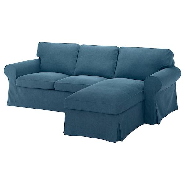 EKTORP cover 3-seat sofa w chaise longue Tallmyra blue