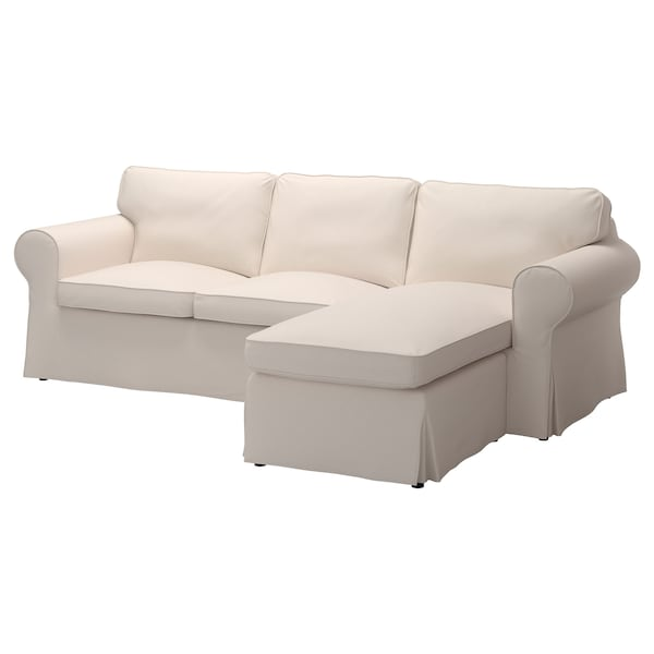 EKTORP cover for 3-seat sofa with chaise longue/Lofallet beige