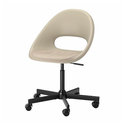 ELDBERGET / MALSKÄR Swivel chair with pad, beige/black