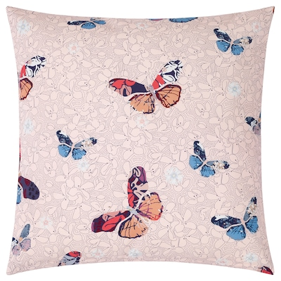 ELSEBY Cushion cover, pink/butterfly, 50x50 cm