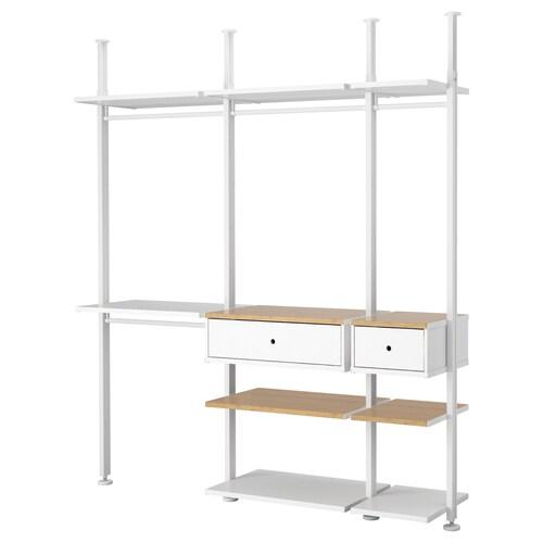 ELVARLI 3 sections white/bamboo 218.4 cm 50.8 cm 221.5 cm 350.0 cm