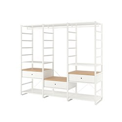 ELVARLI 3 sections, white, bamboo
