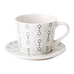 ENIGT teacup with saucer, off-white, green