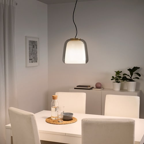 EVEDAL Pendant lamp IKEA This lamp has an inner opaque shade and an outer shade in coloured glass, so it provides mood lighting and directed light.