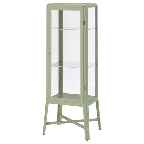 FABRIKÖR glass-door cabinet pale grey-green 57 cm 47 cm 150 cm 10 kg