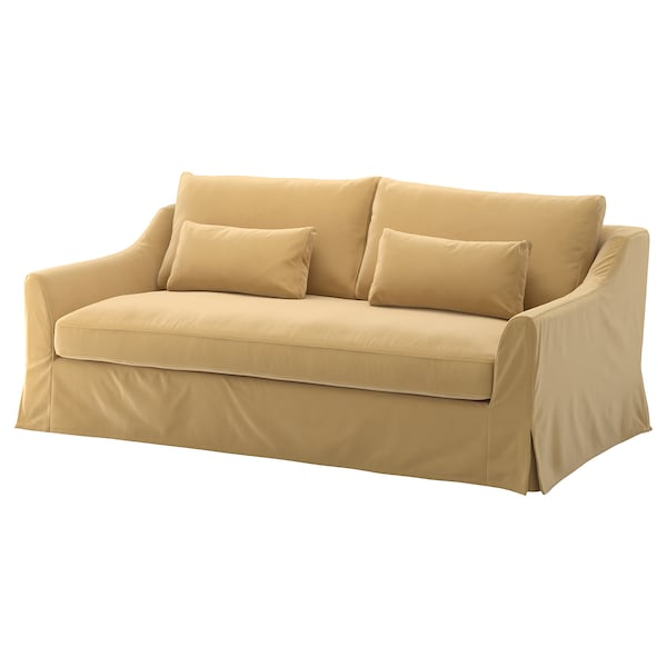 FÄRLÖV cover for 3-seat sofa Djuparp yellow-beige
