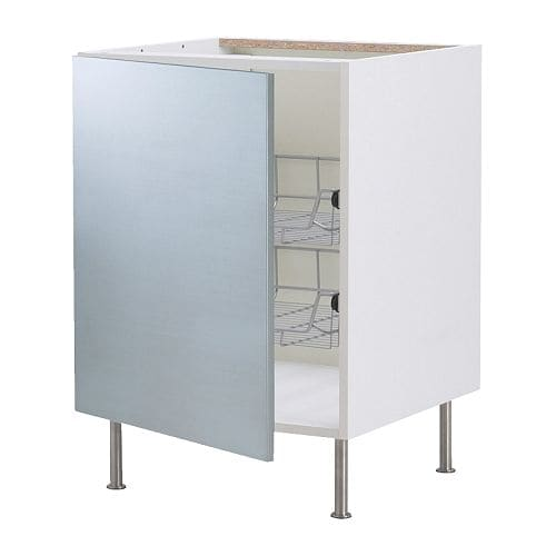 Faktum base cabinet with wire baskets rubrik stainless steel 40 cm ikea for 50cm kitchen cabinets