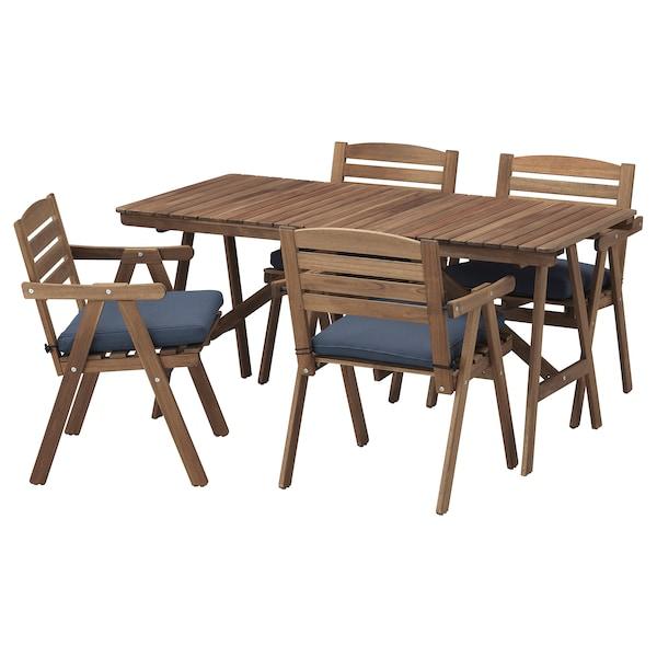 FALHOLMEN table+4 chairs w armrests, outdoor light brown stained/Frösön/Duvholmen blue