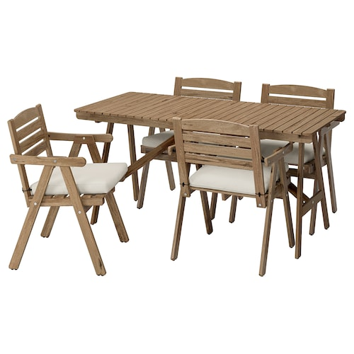 FALHOLMEN table+4 chairs w armrests, outdoor light brown stained/Frösön/Duvholmen beige