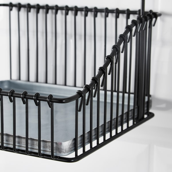 FINTORP Wire basket with handle, black, 20x19x23 cm