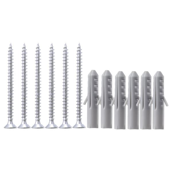 FIXA 12-piece screw and plug set, silver-colour/grey
