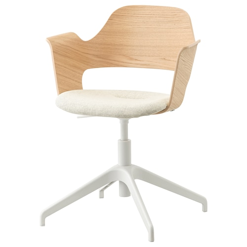 FJÄLLBERGET conference chair white stained oak veneer/Gunnared beige 110 kg 67 cm 67 cm 86 cm 42 cm 40 cm 43 cm 56 cm